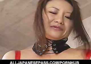 horny japanese mother i in red latex with a strap