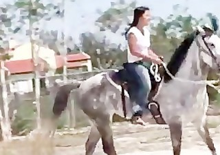 hottie from thailand riding a horse